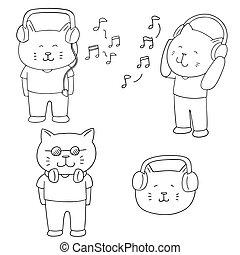 vector set of cat listening music