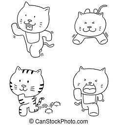vector set of cat running