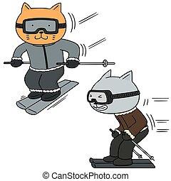 vector set of cat skiing