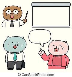 vector set of cat teacher