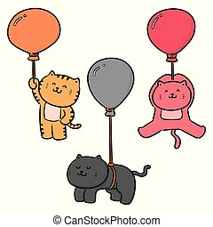 vector set of cat with balloon