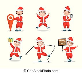 Vector set of characters for Christmas in cartoon style.
