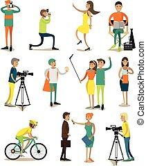 Vector set of characters, photo, video concept design elements, icons