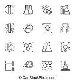 Vector set of Chemistry concept icons in outline style