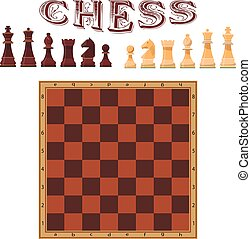 Vector set of chess figures. Piece and board. Icons design...