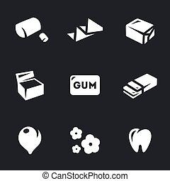 Vector Set of chewing Gum Icons. - Cud, wrapper, packing,...