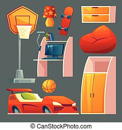 Vector set of children bedroom, playroom