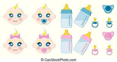 Vector set of children faces icons, baby bottles with milk, pacifiers, baby dummies, blonde boy and girl.