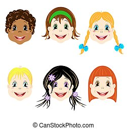 Vector set of children heads with different types of haircut and colors of eyes for avatars and icons