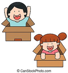 vector set of children in the box