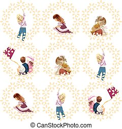 Vector set of children playing and having fun