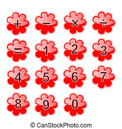 Vector Set of Childrens Red Calculator Buttons