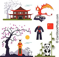 Vector set of China characters with dragon, woman in kimono, panda and chinese house.