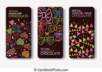 Vector Set Of Chocolate Bar Package Designs With Fun Party...