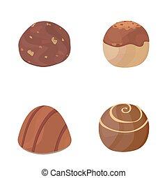 vector set of chocolate candies. cartoon  on dark background