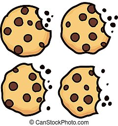 vector set of chocolate chip bitten cookies
