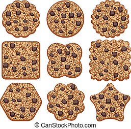 vector set of chocolate chip cookies of different shapes