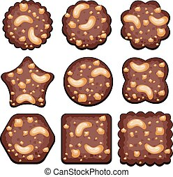 vector set of chocolate chip cookies with nuts
