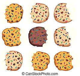 vector set of chocolate chip cookies