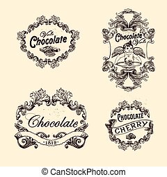 Vector set of chocolate labels, design elements, emblems and badges. Isolated logos illustration in vintage style.