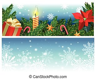 Vector set of Christmas banners with fir branches, holly, mistletoe flower, caramel cane, gift box, burning candle.