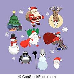 vector set of Christmas characters