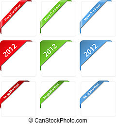 Christmas corner ribbons - Vector set of Christmas corner...