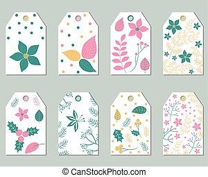 Vector set of Christmas gift tags with foliage