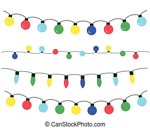 Vector set of Christmas lights of different colors, isolated on white background - flat