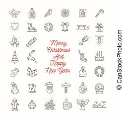 Vector set of Christmas line art icons