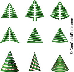 Vector set of Christmas trees. Stylized xmas tree for your holiday design. Isolated on white background.