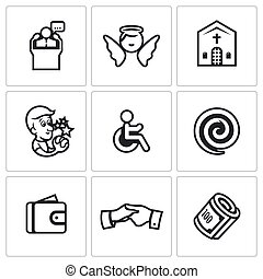 Vector Set of Church and Faith Icons. Pastor, Angel,...