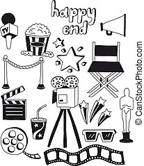 Vector set of cinema icons Hand drawn images