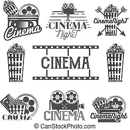 Vector set of cinema labels and logos. Isolated illustration in vintage style. Monochrome badges, emblems, design elements movie theater