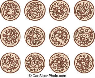 Vector set of circles with ethnic floral elements