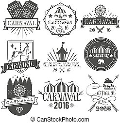 Vector set of circus and carnival labels in vintage style. Design elements, icons, logo, emblems, badges isolated on white background.