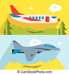 Vector Set of Civil and military aviation. Flat style...