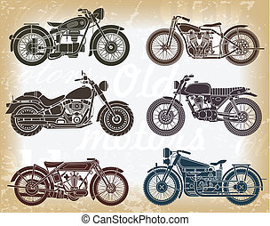Vector set of old classic motorcycle. Graphic design elements for print and web