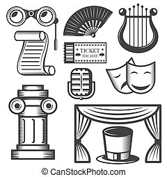Vector set of classic theater isolated icons. Black and white theater symbols and design elements.