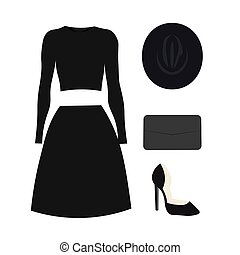 Vector set of classic women's clothing,
