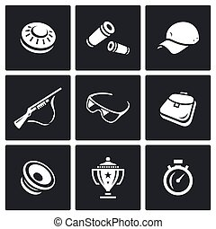 Vector Set of Clay Shooting Icons. Plate, Bullet, Cap, Gun, Glasses, Bag, Speaker, Cup, Stopwatch.