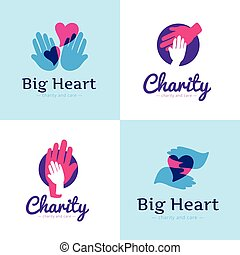 Vector set of clean charity center logos. Hospital logos with hands and heart