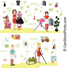 Vector set of cleaning people symbols, icons in flat style