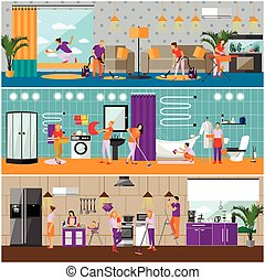Vector set of cleaning service concept banners. Apartment interior. Housekeeping company team at work.