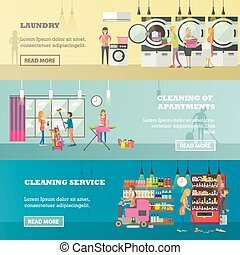 Vector set of cleaning service concept banners