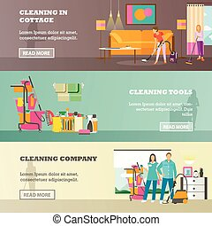Vector set of cleaning service concept banners in flat style