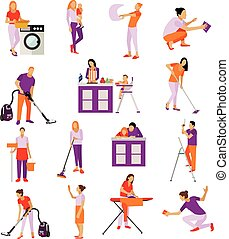 Vector set of cleaning service workers. People clean house, isolated on white background. Housekeeping company team at work