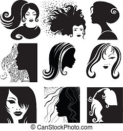 woman with long hair - Vector set of closeup silhouette ...