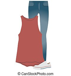 Vector set of clothes for everyday wear,