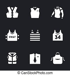Vector Set of Clothes Icons. - Biker waistcoat, waiter,...